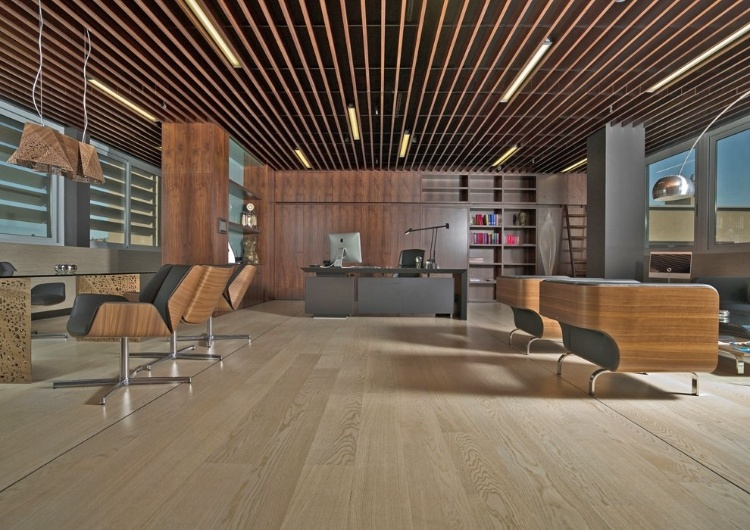 Concrete Ceiling Lighting Office